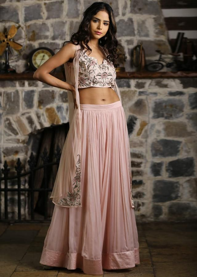 3c5f21a868 Rose pink crop top paired with peach georgette skirt and matching  embroidered jacket only on Kalki