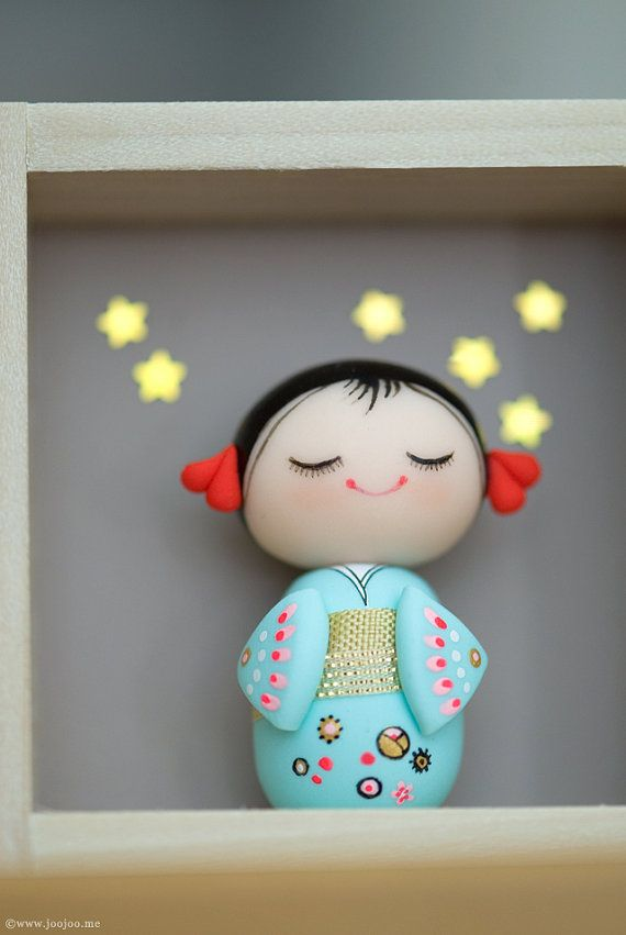 Polymer clay miniature doll Kokeshi doll OOAK by JooJooTreasures
