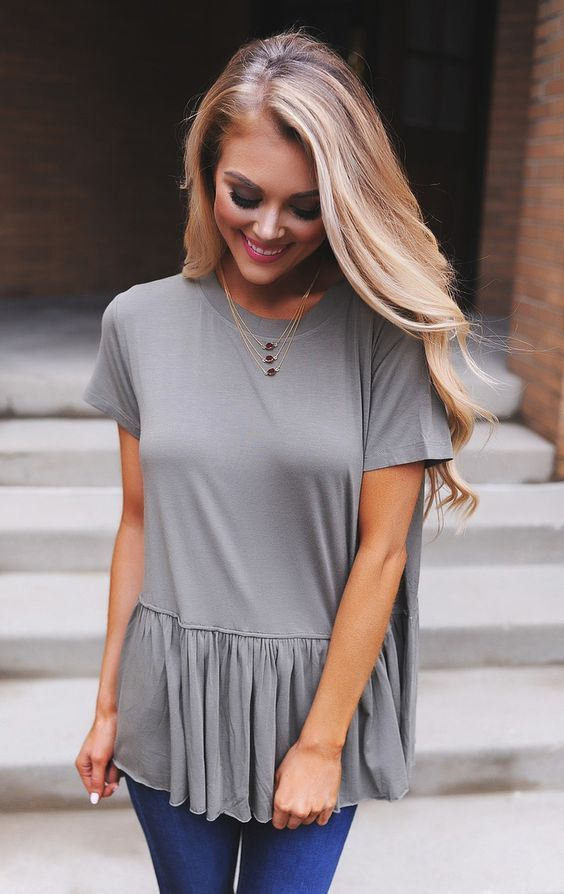 Olive Peplum Tee - Dottie Couture Boutique