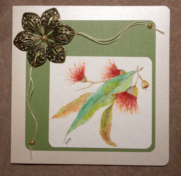Mother's Day Card. Original hand painted watercolour gum leaves & flowers. Bronze ornate metal flower and embroidery thread. OOAK.