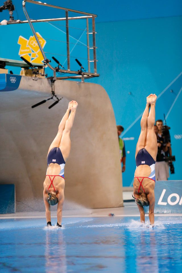 British divers Sarah Barrow and Tonia Couch in the 10m platform synchronized diving medal event.