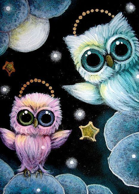 TINY ANGELS OWLS PLAYING WITH THE SNOW IN HEAVEN