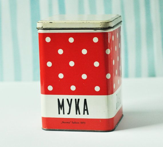 Polka Dotted Red and White Tin Canister from Soviet time