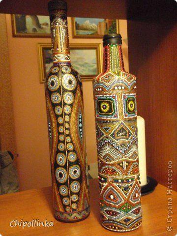 Точечная роспись бутылок фото 7
