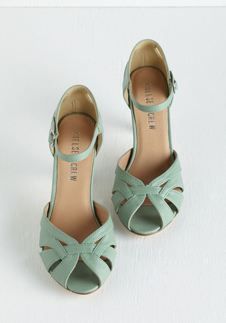 Tout de Sweet Heel in Mint. Set the pace for swoon-worthy style in these muted mint-green pumps by Chelsea Crew. #mint #modcloth