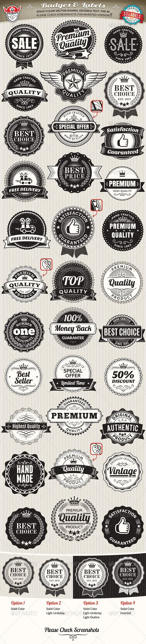 33 Vintage Labels and Badges Template | Buy and Download: http://graphicriver.net/item/33-vintage-labels-and-badges/7132605?WT.ac=category_thumb&WT.z_author=Designful&ref=ksioks