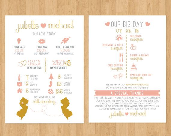 infographic wedding program printable pdf timeline fun facts
