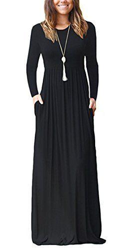 b5fa4cfdce FOMANSH Women Long Sleeve Maxi Dress Round Neck Loose Plain Casual Long  Dresses With Pockets (L