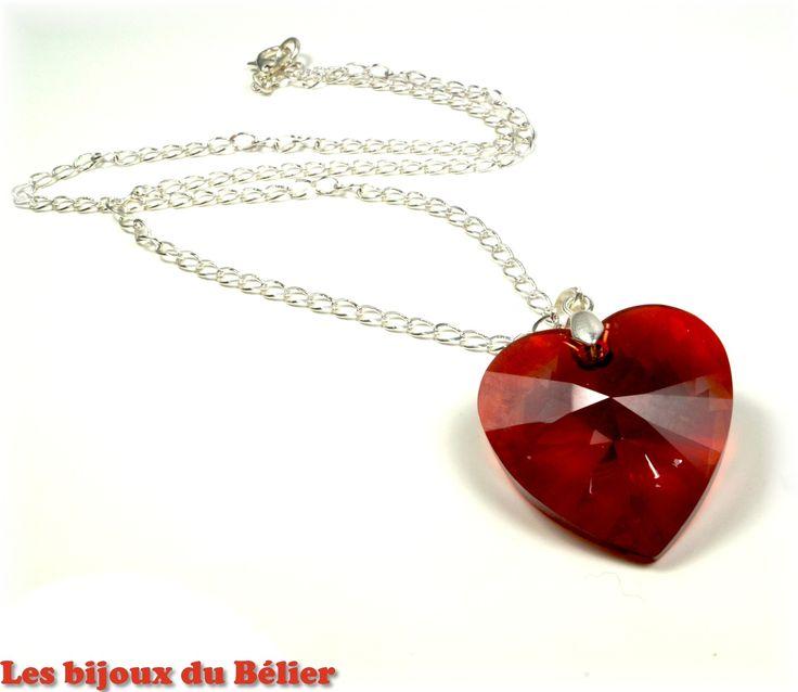 Collier coeur Swarovski rouge à offrir pour la fête des mères : Collier par les-bijoux-du-belier