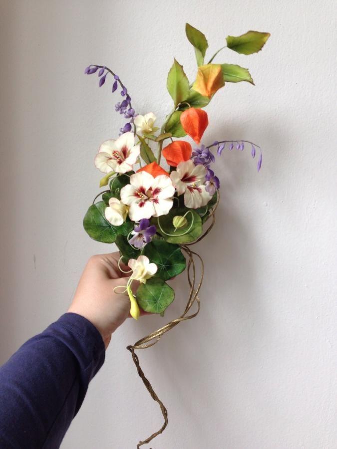 {A beautiful sugar bouquet with cream Nasturtiums by Jana}