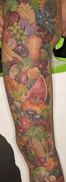 Horn of Plenty Tattoo --reminder to eat your fruits and veggies? (#tattoo art like I've never seen before!)