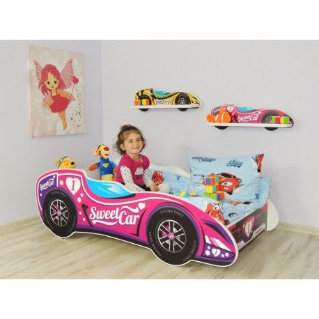 'Number One Princess' gorgeous designer racing car bed in pink for a #toddler - The Little Bedroom Company