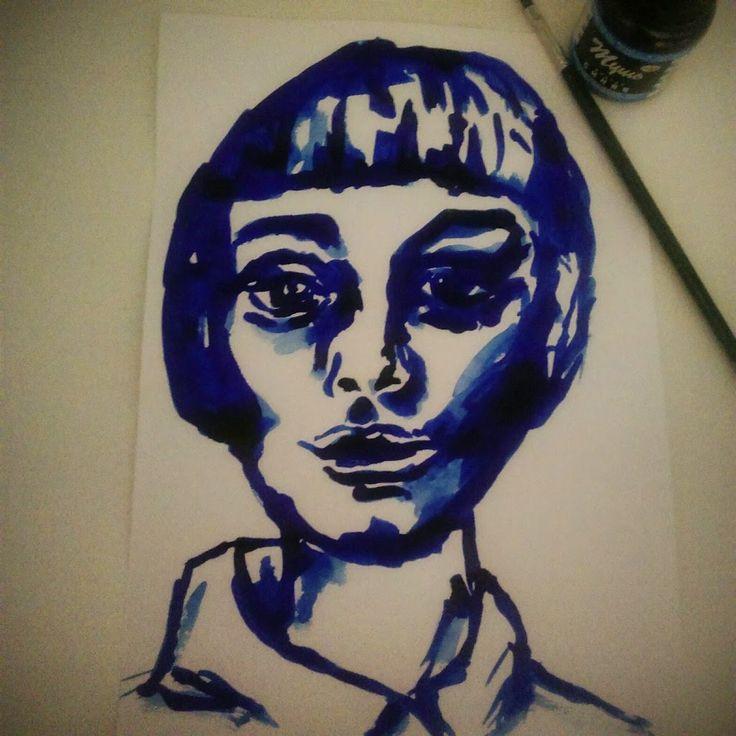 http://yanathedreamer.blogspot.com/ #art #girl #blue #portrait #scetch #ink