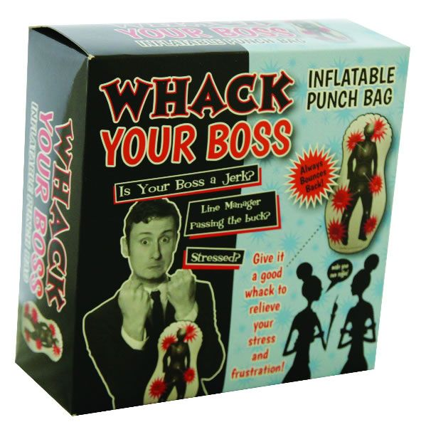 Whack your Boss Inflatable Punch Bag.  On the days that your boss is giving you a hard time, rather than hit him or her and get the sack – you're better off investing in the Whack your boss inflatable punch bag. You'll thank us for it when they put you in charge one day!
