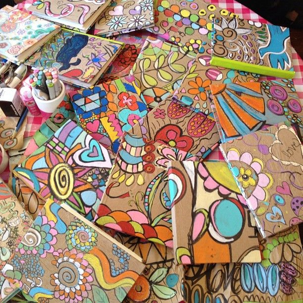 Fun colorful designs for sketchbook covers...assignment color and design