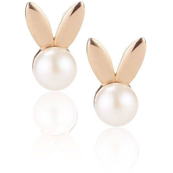 Aamaya By Priyanka Rose Gold Pearl Bunny Earrings found on Polyvore