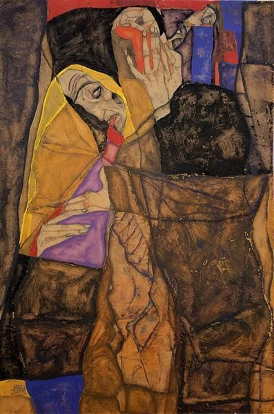 The Blind by Egon Schiele -  Date: 1913; Vienna, Austria -  Style: Expressionism - Genre: portrait - Media: oil, canvas -  Location: Private Collection