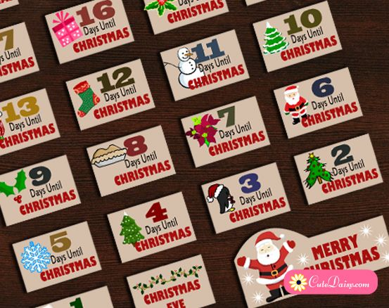 Free Printable Christmas Countdown Stickers | Free Planner