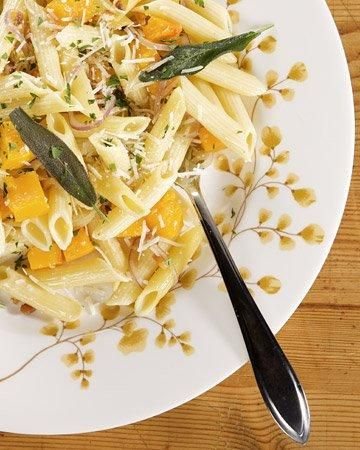 Penne with Roasted Butternut Squash, Pancetta, and Sage Recipe: Marthastewart, Sage Recipes, Pasta Recipes, Roasted Butternut Squash, Bacon, Squash Recipes, Martha Stewart, Dinners Parties, Squashes
