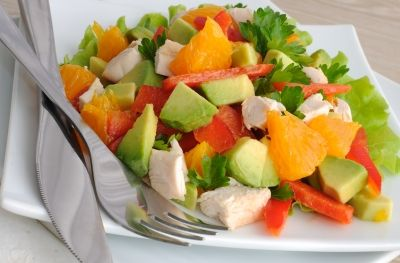 Avocado Chicken Salad with Oranges and Parsley