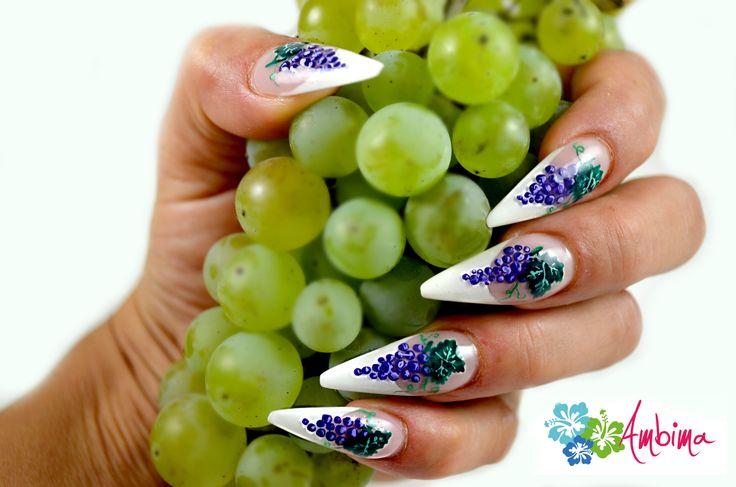 Grape stiletto nails