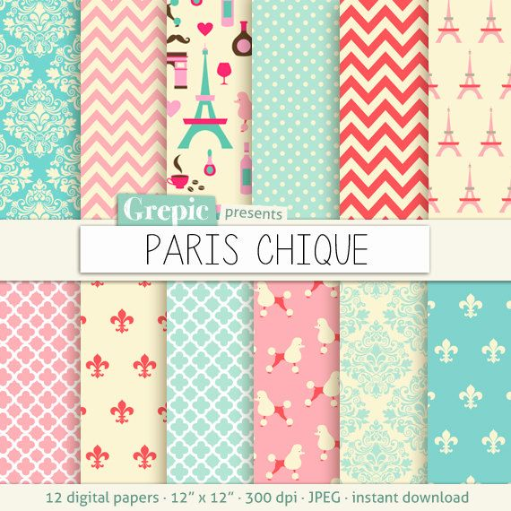 Paris digital paper PARIS CHIQUE with parisian chic backgrounds by Grepic
