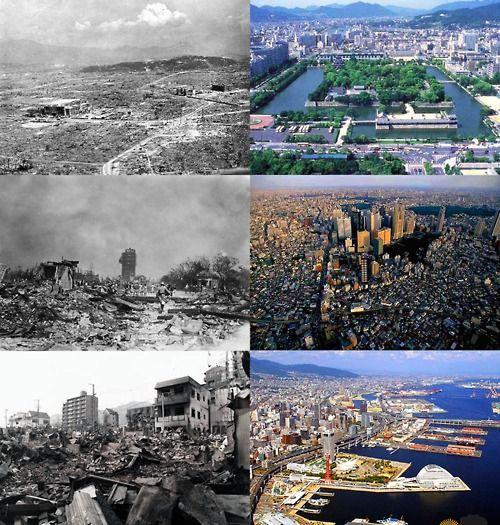 Hiroshima 1945---Hiroshima today. Tokyo 1923---Tokyo today. Kobe 1995---Kobe today.