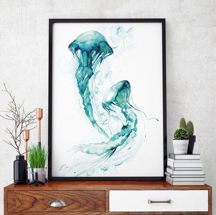 Qualle Aquarell Wandkunst Meer Ozean Nautischen Aquarell Fisch