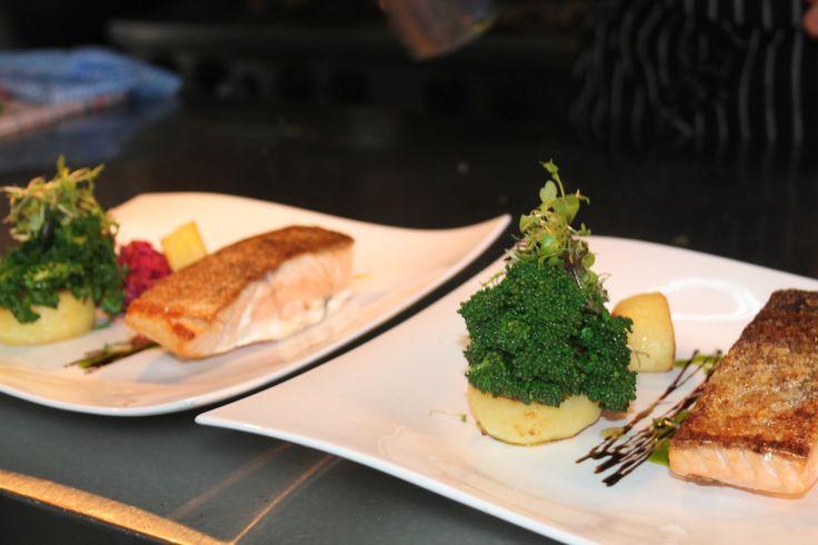 crisp skin atlantic salmon, beetroot remoulade, fondant potato, broccolini, balsamic reduction at The Boatshed #perth #yum #salmon #gourmet www.boatshedrestaurant.com
