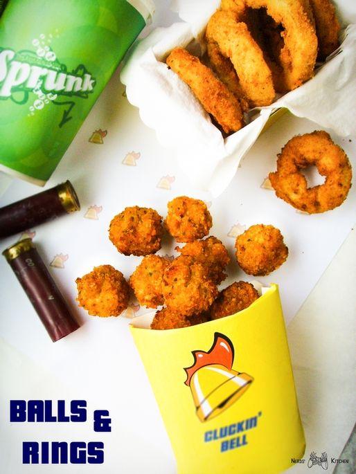 Cluckin' Bell poleca smażone przekąski - BALLS & RINGS - kulki z kurczaka i krążki cebulowe to nie tylko kalorie, ale także zabójczy smak! Zasmakuj koguta!