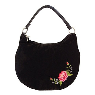 Frida Rose Velvet Shoulder Bag$190.95     Style BA-SBM-FDV      This stunning new bucket bag features a stylish leather handle, and is made from luxurious velvet.