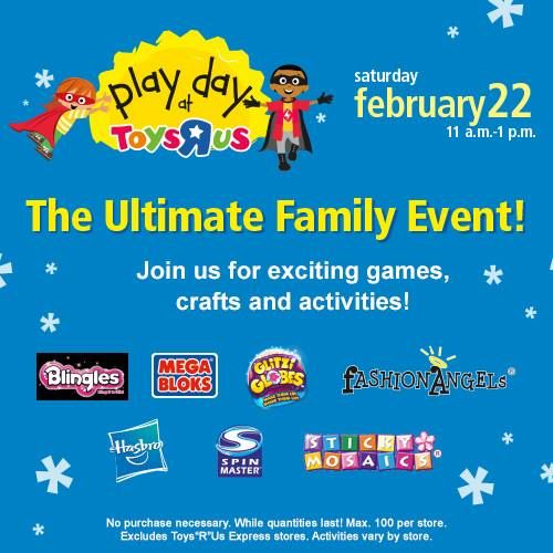 """THIS Saturday, February 22nd visit a Toys""""R""""Us store between 11am-1pm and take part in our Ultimate Family Event with exciting games, crafts & activities: PLAY DAY!   Dress up as your favourite Superhero and receive a personalized SECRET IDENTITY CARD, plus super savings on all Hasbro Marvel products!  Get more info here: http://toysrus.ca/events and RSVP here: http://facebook.com/toysruscanada!"""