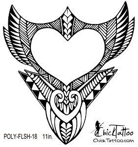 chicktattoo polynesian heart flash tattoo design