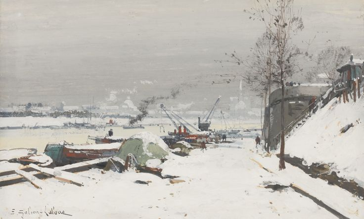 Eugène Galien-Laloue 1854-1941 FRENCH QUAI DE BERCY SOUS LA NEIGE signed E.Galien-Laloue lower left gouache on paper laid on board 19 by 31cm., 7½ by 12¼in.: