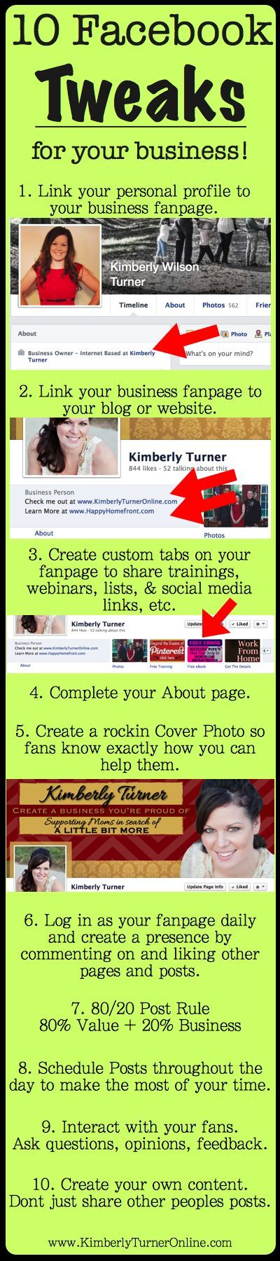 I shared some training last night with my team on how to market your business on facebook. Here are 10 facebook tweaks that anyone can do on facebook to increase their exposure on this social media platform. What other tips do you have for marketing your business or brand on facebook?.