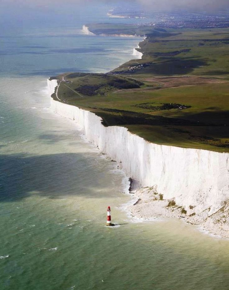 The White Cliffs of Dover are located on the English Channel, where Great Britain is the closest to the continent. They are a beautiful sight, made up of white chalk streaked with flint