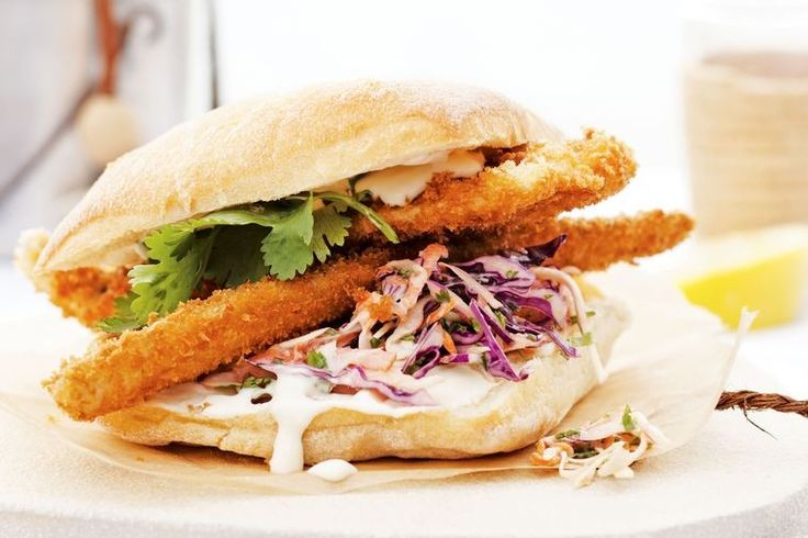 Crumbed whiting burgers with cabbage slaw and coconut mayo