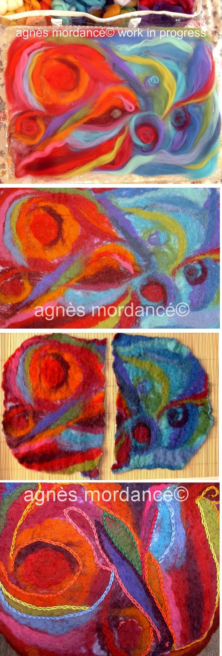 agnès mordancé© créations feutrées - felted art work in progress http://agnesmordance.blogspot.fr/