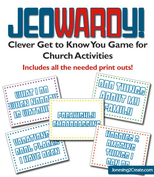 Perfect for church or young women's activity. A great getting to know you game! Jeowardy