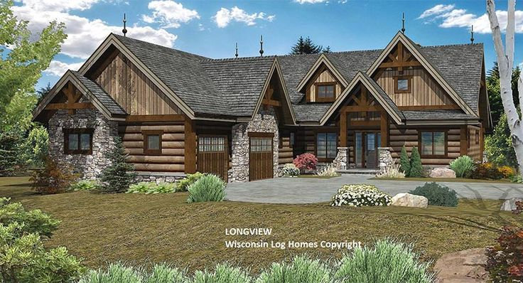 The Longview log home floorplan from Wisconsin Log Homes is over 3,000 sq.ft., and features 3 bedrooms and 2.5 bathrooms. Really like it for a CO home