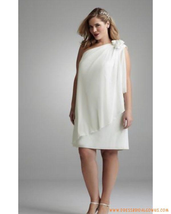 Plus Size Short Wedding Casual Ivory Chiffon This