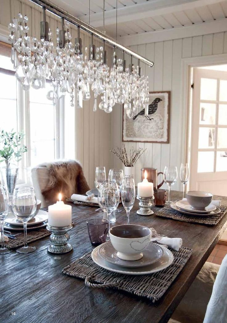 Neutral Dining Room White Cream Dishes Candels Bird Print Chandelier Fur