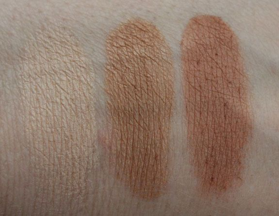 (l to r) Reserve Your Cabana, Bikini Contest, Ticket to Brazil  Reserve Your Cabana is a very pale champagne nude shade. VERY pale.   Bikini Contest is a medium/deep slightly shimmery bronze.   Ticket to Brazil is a slightly deeper orange/bronze shade than Bikini Contest. No shimmer with this one as it's matte- but really pigmented and soft.
