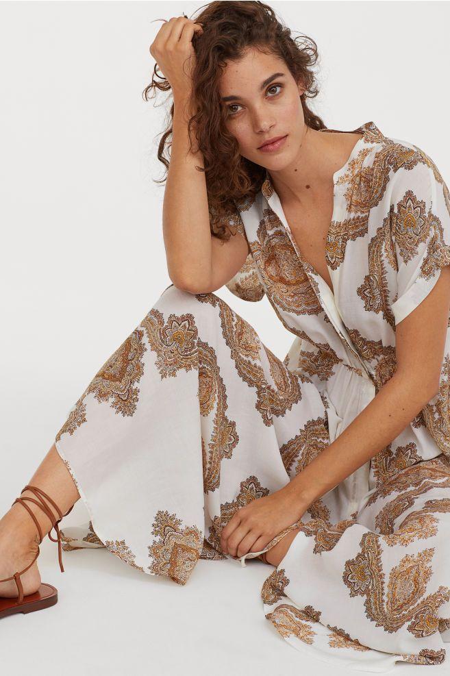 Kleid Aus Lyocellmischung Naturweiss Paisleymuster Ladies H M De Paisleymuster Mode Outfits Frauen Ausgestellte Rocke