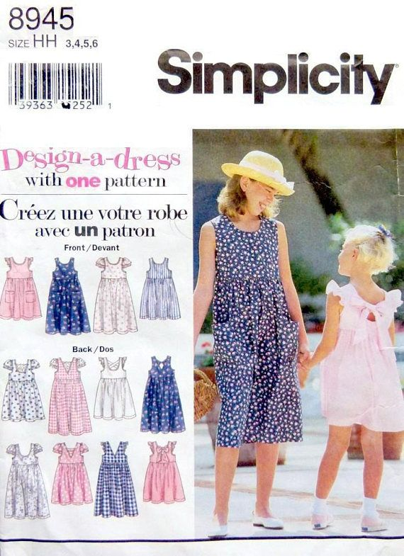 Simplicity 8945 Design Sundress  Size 3 to 6 Two Lengths