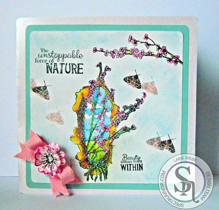 HSN 8 x 8 card made with Sheena Douglass - A Little Bit Sketchy A6 Stamp Set - Cherry Blossom Spectrum Noir AquaBlend pencils used:  Essentials: Gravel, Nutmeg, Naturals: Sky Blue, Pesto Green, Primaries: Bright Green, Parakeet, Age an Blue, Florals: Violet, Primrose, Pineapple, Rose.   Designed by Laine.  #spectrumnoir #craftercompanion #sheenadouglass, #aquablend