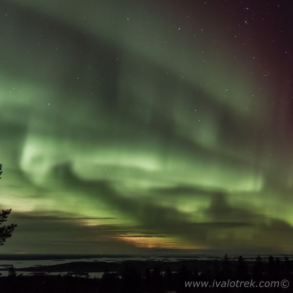 The Northern lights over Lake Inari