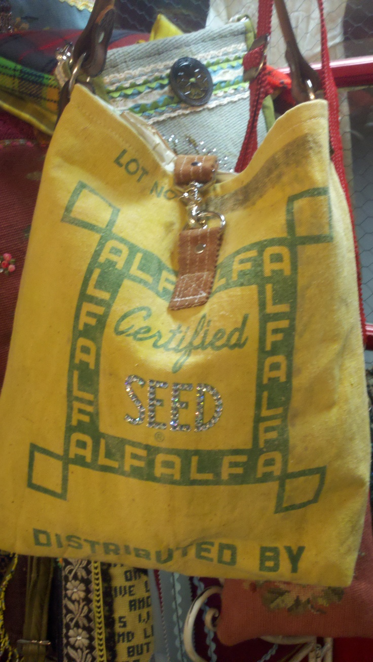 feed sack bag - check out the beading!