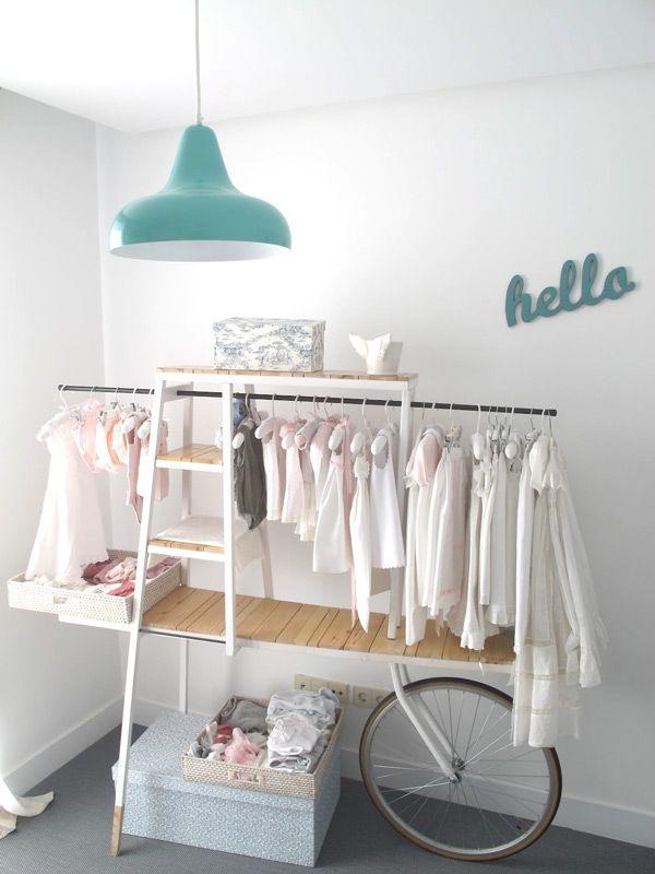 Rolling Cart Wardrobe Clothing Rack - Nursery