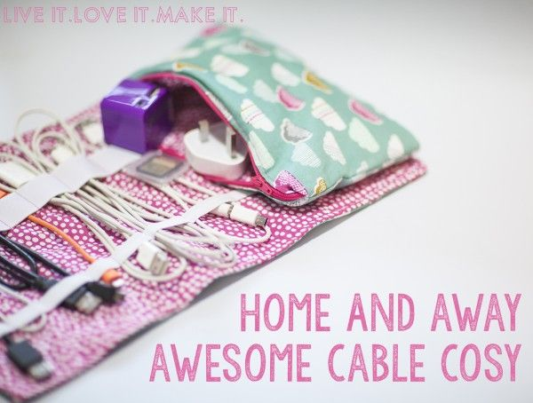 Sew a Home and Away Cable Travel Cozy + Pouch - Free PDF from Live It Love It Make It
